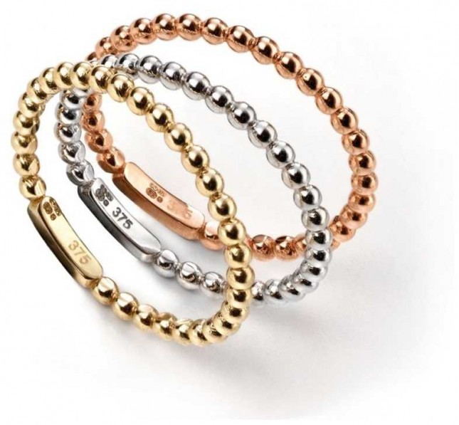 Elements Gold 9ct RoseGold White Gold And Yellow Gold  Tri Ball Stacking Rings GR463