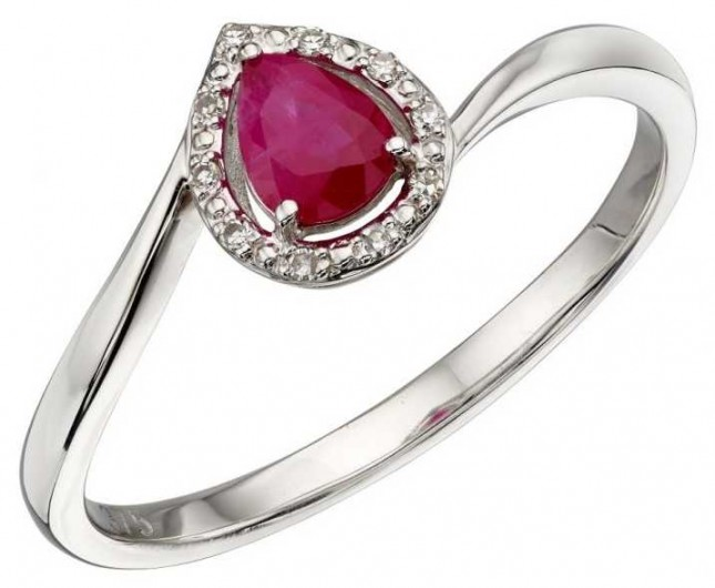 Elements Gold 9ct White Gold Ruby And Diamond Ring Size EU 54 (UK N) GR568R 54