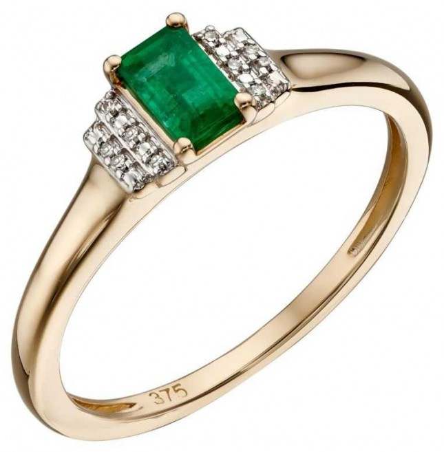 Elements Gold 9ct Yellow Gold Emerald And Diamond Deco Ring Size EU 58 (UK Q 1/2) GR567G 58