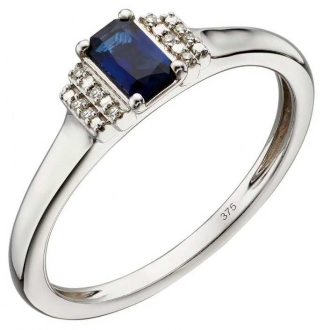 Elements Gold 9ct White Gold Sapphire And Diamond Deco Ring Size EU 52 (UK L 1/2) GR566L 52