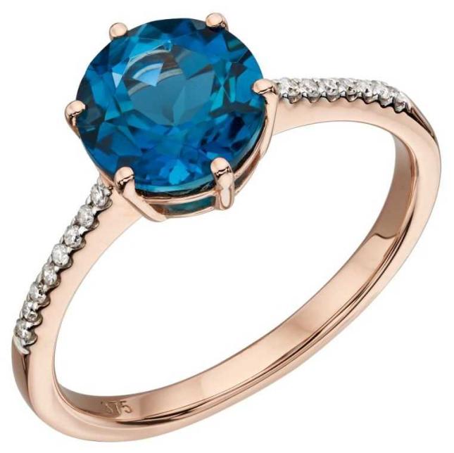 Elements Gold 9ct Rose Gold London Blue Topaz Pave Diamond Ring Size EU 54 (UK N) GR561L 54