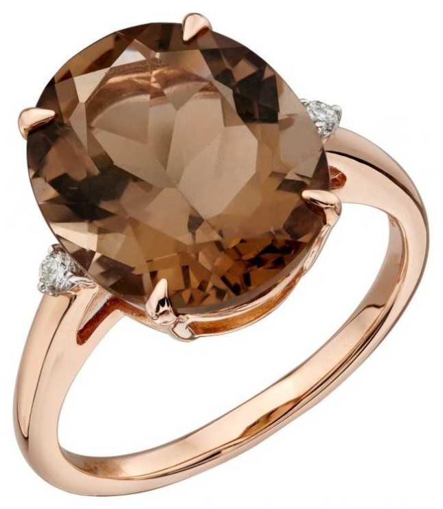 Elements Gold 9ct Rose Gold Smokey Quartz Diamond Set Ring Size EU 54 (UK N) GR559Y 54