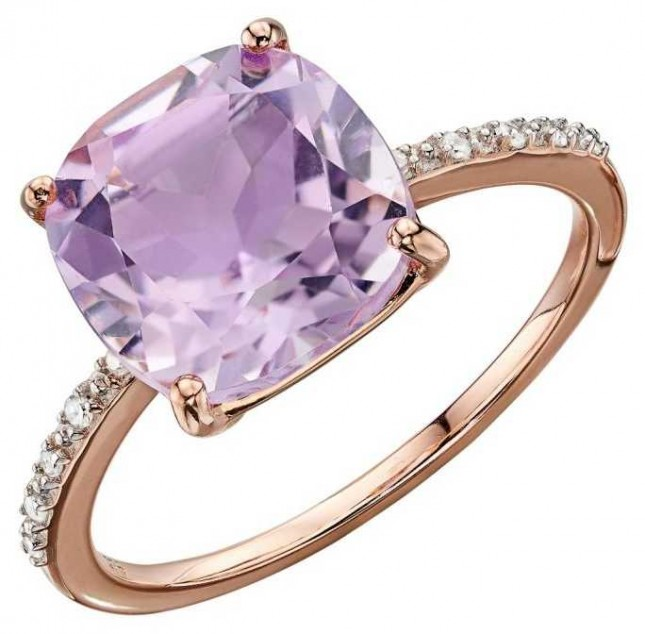 Elements Gold 9ct Rose Gold Pink Amethyst And Diamond Ring Size EU 54 (UK N) GR546P 54
