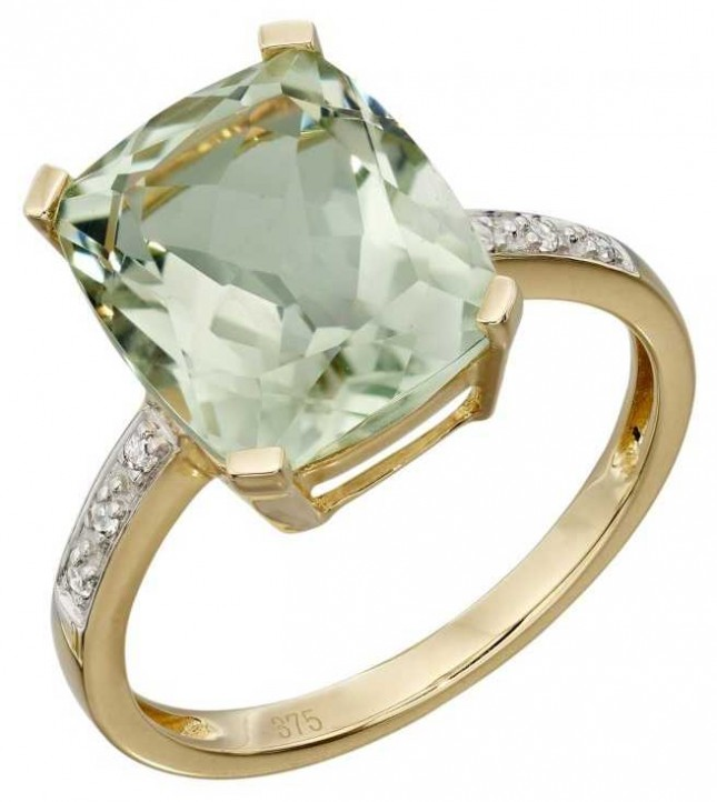 Elements Gold 9ct Yellow Gold Green Amethyst And Diamond Cocktail Ring Size EU 58 (UK Q 1/2) GR543G 58