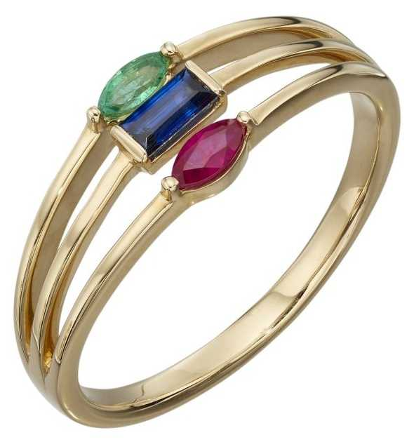 Elements Gold 9ct Yellow Gold Triple Band With Emeralds Sapphire And Ruby Ring Size EU 54 (UK GR541 54