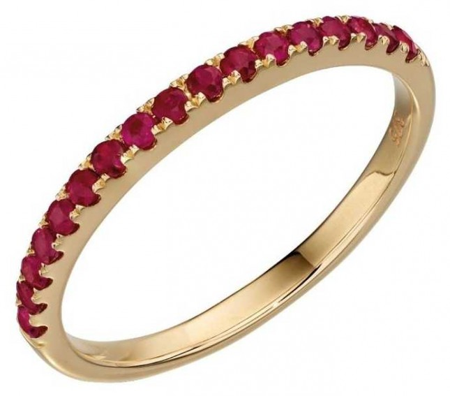 Elements Gold 9ct Yellow Gold Ruby Band Ring Size EU 58 (UK Q 1/2) GR537R 58