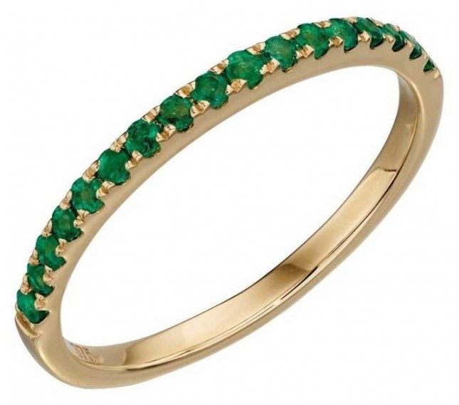 Elements Gold 9ct Yellow Gold Emerald Band Ring Size EU 52 (UK L 1/2) GR538G 52
