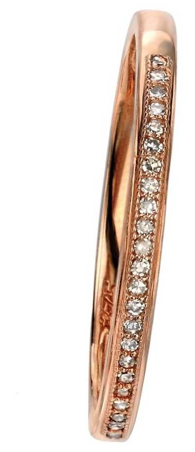 Elements Gold 9ct Rose Gold Diamond Set Pave Ring Size EU 56 (UK O 1/2 – P) GR513 56