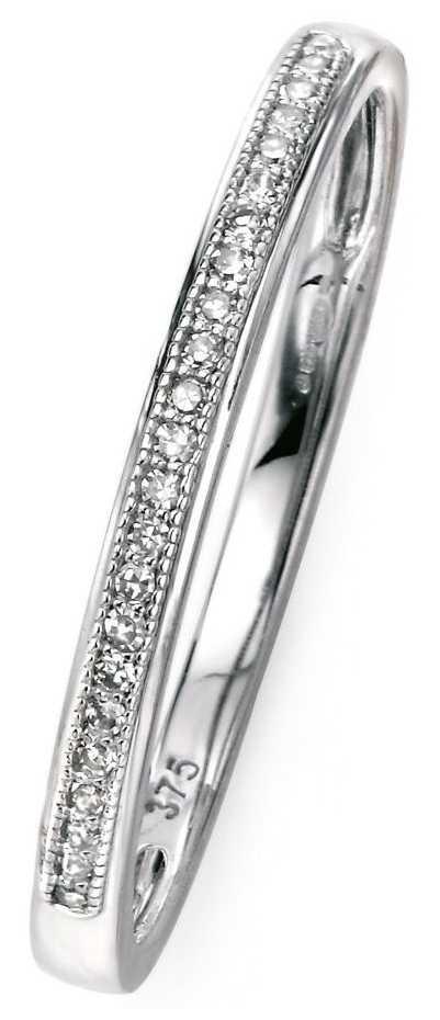 Elements Gold 9ct White Gold Diamond Set Pave Ring Size EU 52 (UK L 1/2) GR512 52