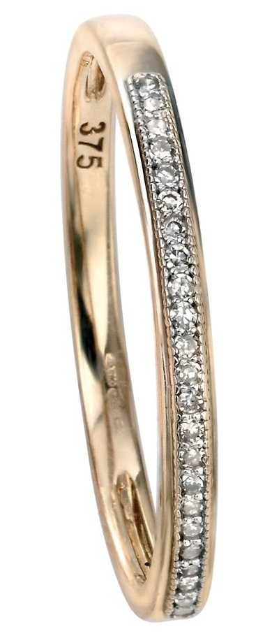 Elements Gold 9ct Yellow Gold Diamond Set Pave Ring Size EU 54 (UK N) GR511 54