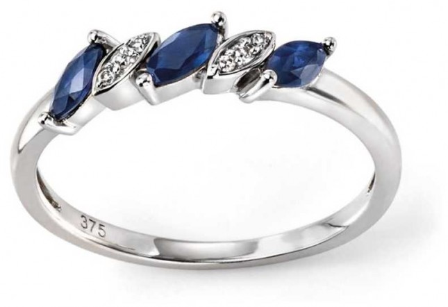 Elements Gold 9ct White Gold Sapphire And Diamond Marquise Ring Size EU 56 (UK O 1/2 – P) GR502L 56