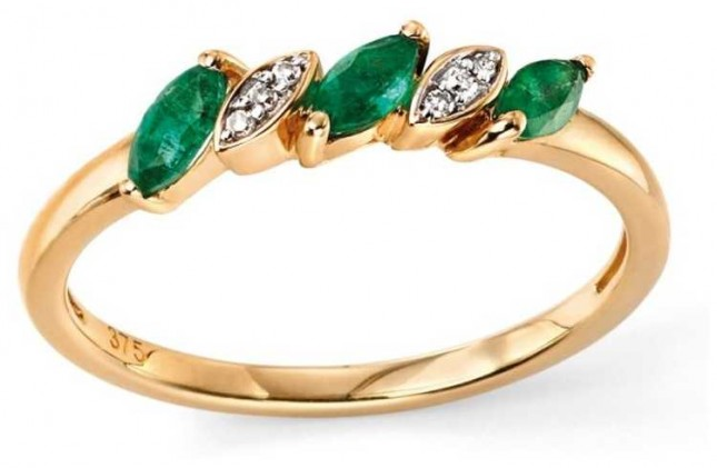 Elements Gold 9ct Yellow Gold Emerald And Diamond Ring Size EU 54 (UK N) GR501G 54