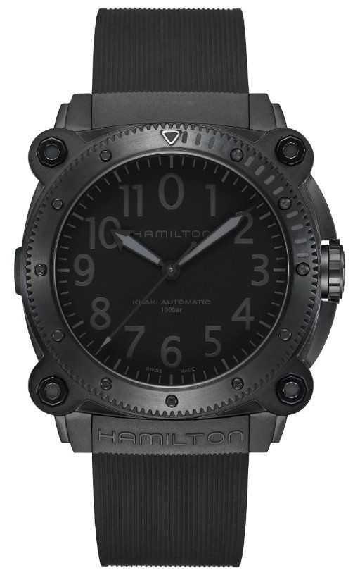 Hamilton Khaki Navy BeLOWZERO   Black Silicone Strap   Black Dial H78505330