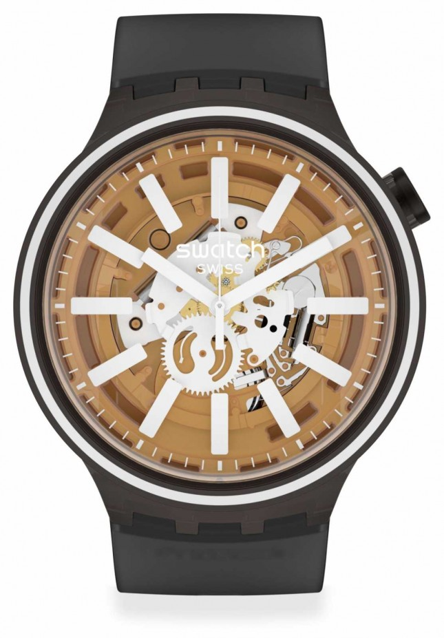 Swatch LIGHT TASTE | Big Bold | Black Silicone Strap | Skeleton Dial SO27B114