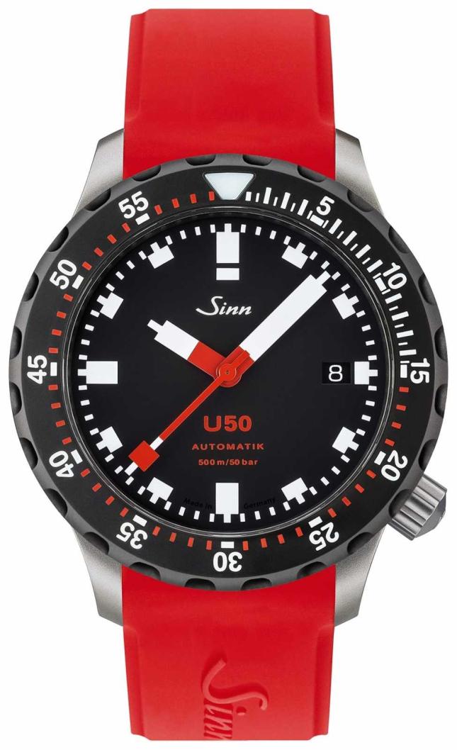 Sinn U50 SDR | Red Rubber Strap | Black Dial 1050.040