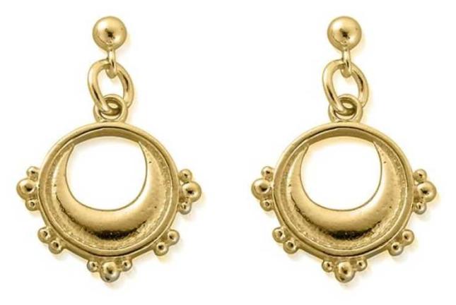 ChloBo Half Moon Drop Earrings | 18ct Gold Plated GEST4006