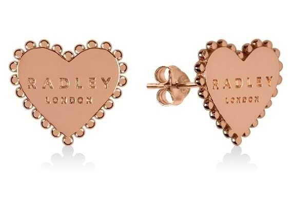 Radley Jewellery Sterling Silver 18ct Rose Gold Plated Heart Stud Earrings RYJ1126