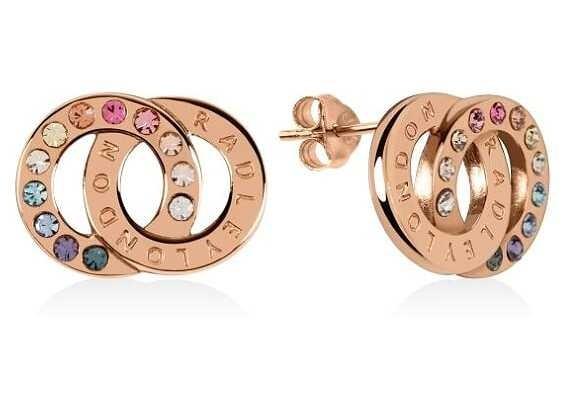 Radley Jewellery Sterling Silver Rose Gold Rainbow Double Loop Stud Earrings RYJ1146
