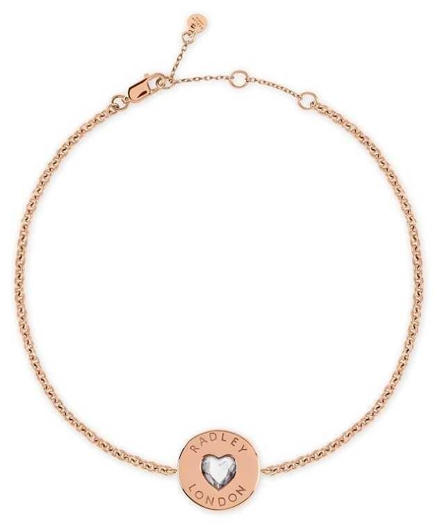 Radley Jewellery Sterling Silver 18ct Rose Gold Plated Heart Disc Bracelet RYJ3080