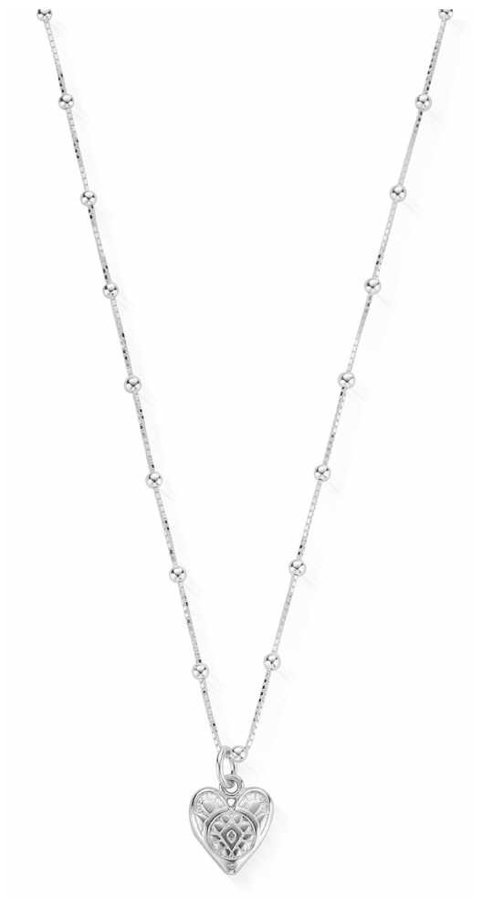 ChloBo   Womens   Silver Patterned Heart  Chain Necklace SNBB691