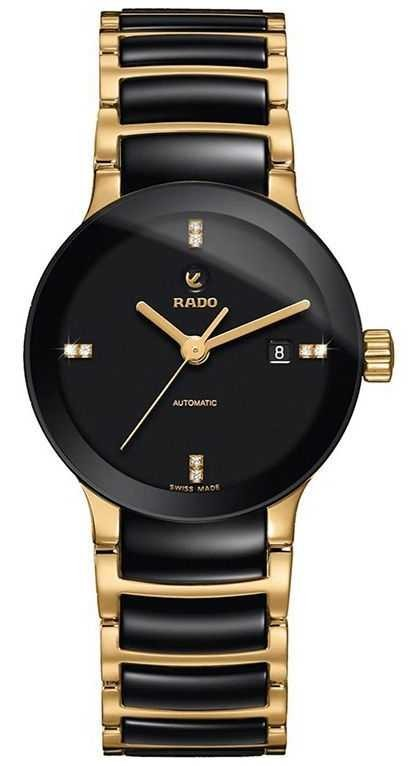 RADO Centrix SM Ladies Automatic Diamond Black Dial Black / Gold PVD Plated Bracelet R30034712