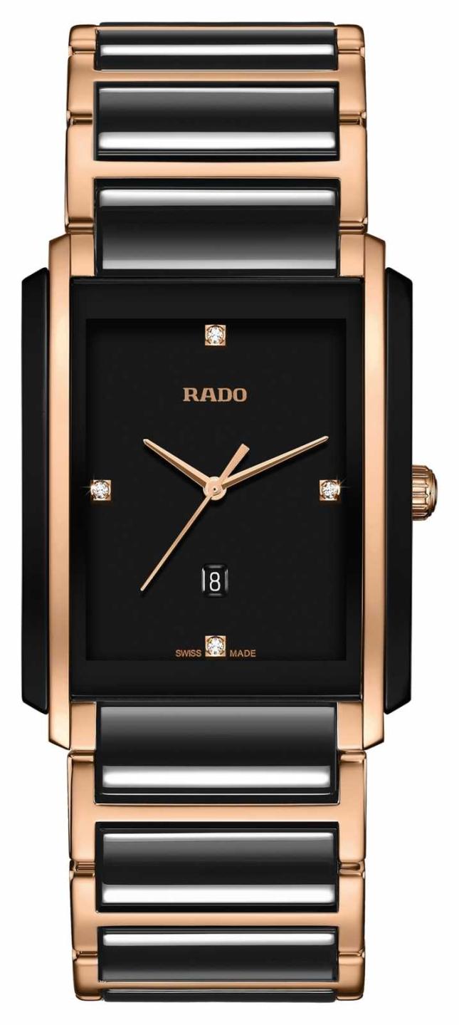 RADO Integral L Mens Black/Rose Gold PVD Plated Bracelet Diamond Black Dial R20207712