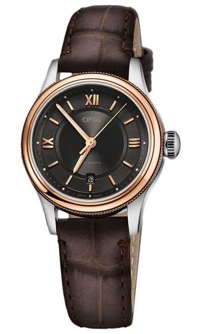 ORIS Classic Date 28.5m Grey Dial Brown Leather 01 561 7718 4373-07 5 14 32