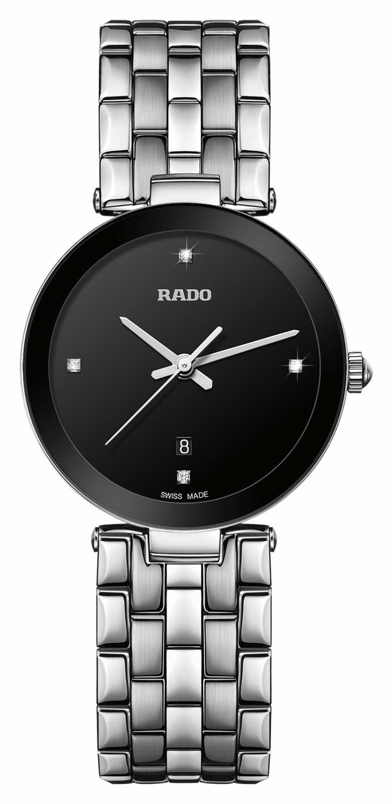 RADO Florence S Diamond Ladies Stainless Steel Bracelet Black Dial Quartz R48908713