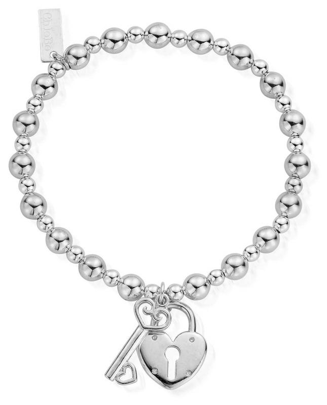 ChloBo Women's   Small Ball Lock And Key   Bracelet SBMSB923