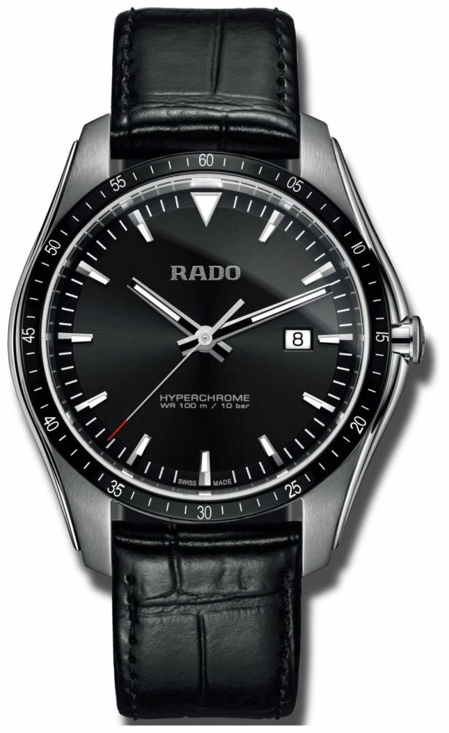 RADO Rado Mens  Hyperchrome XXL Black Dial Black Leather R32502155