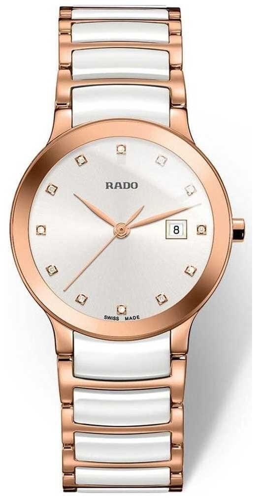 RADO Rado Centrix SM Ladies Quartz White  Rose Gold Ceramic R30512742