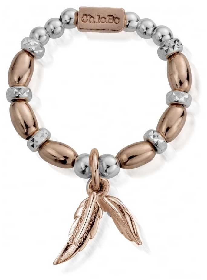 ChloBo   Rose and Silver   Dainty Double Feather Ring   MRM2585