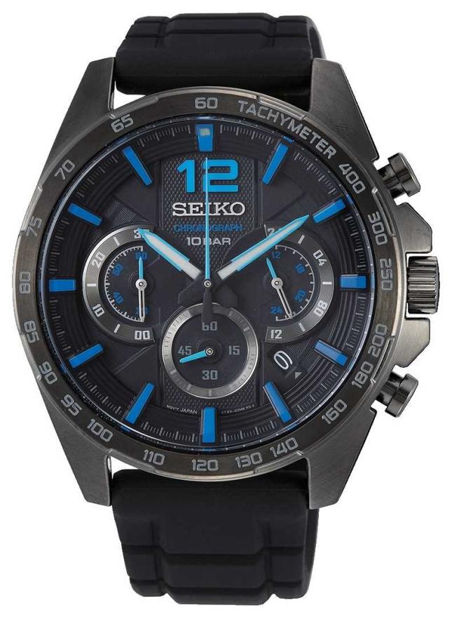 Seiko | Neo Sports | Mens | Black Chronograph | Black Strap | SSB353P1