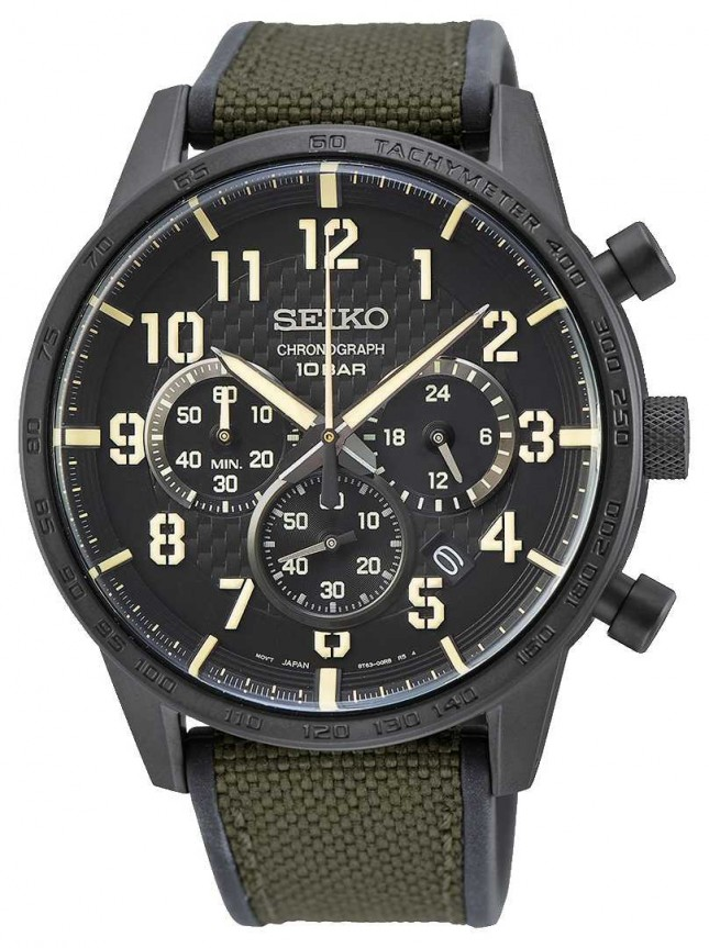 Seiko | Conceptual Gents Quartz | Military Green Strap |Black Dial SSB369P1