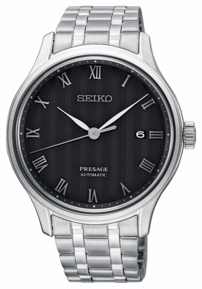 Seiko Presage Mens Automatic Black Dial Stainless Steel Bracelet SRPC81J1