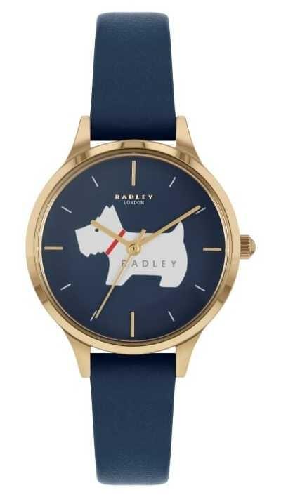 Radley Meridan Place   Blue Leather Strap   Dog Motif Dial RY2974