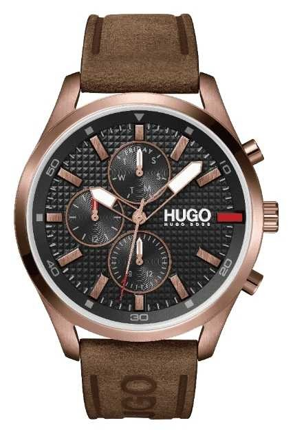 HUGO Men's #CHASE Rose-gold IP | Black Dial | Brown Leather Strap Watch 1530162