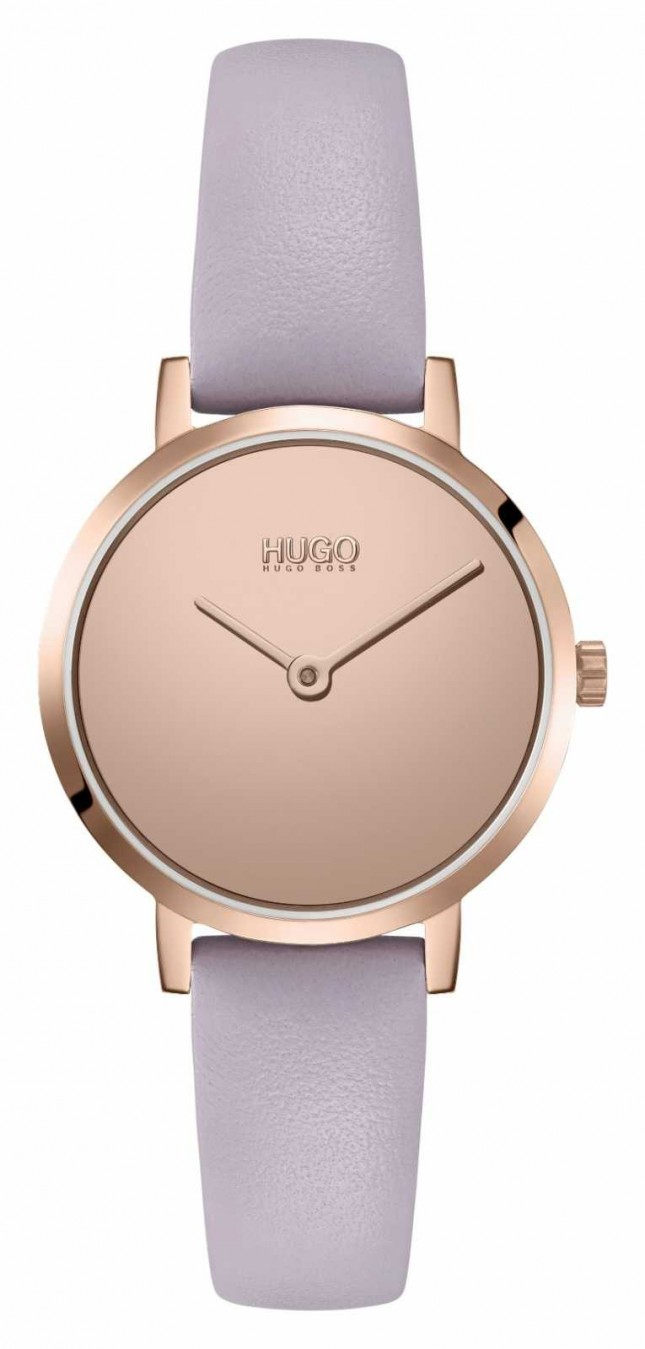 HUGO Ladies #CHERISH Casual | Rose Mirror Dial | lilac Leather Strap 1540083