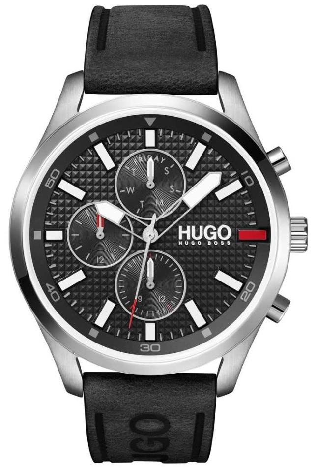 HUGO Men's #CHASE | Black Dial | Black Leather Strap Watch 1530161
