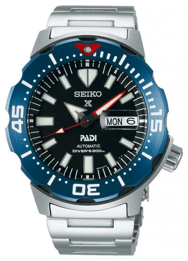 Seiko Men's Prospex | PADI | Stainless Steel Bracelet |Black Dial SRPE27K1