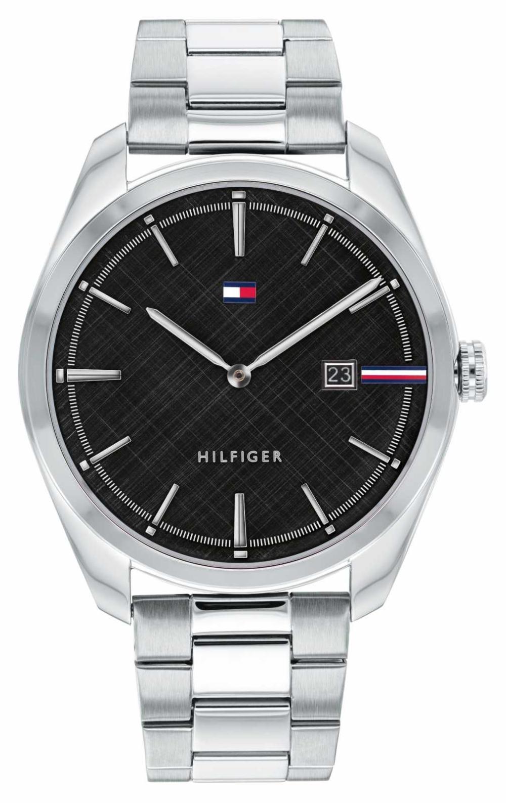 Tommy Hilfiger Men's Theo | Silver Stainless Steel Bracelet | Black Dial 1710440