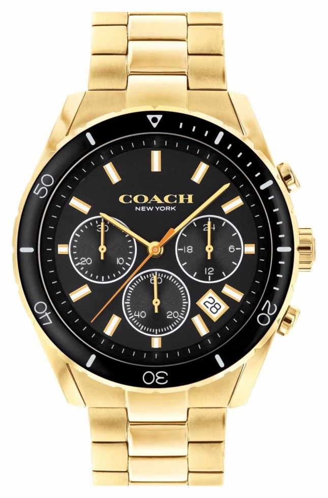 Coach Men's Preston   Gold Plated Steel Bracelet   Black Dial 14602517