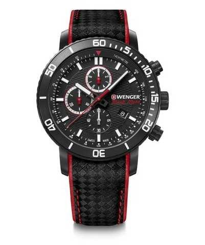 Wenger Roadster Blacknight Chrono | Black Leather Strap |Black Dial 01.1843.109