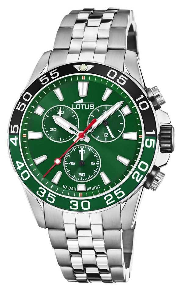 Lotus Men's Stainless Steel Bracelet | Green Dial | Green/Black Bezel L18765/2
