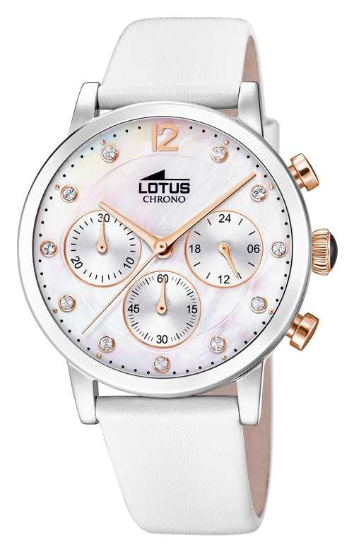 Lotus Women's White Leather Strap | Mother Of Pearl Dial L18674/1
