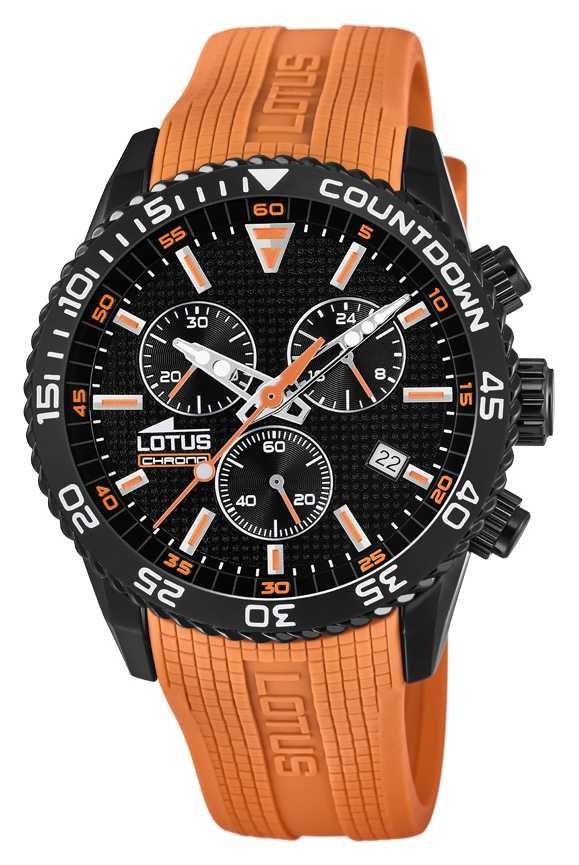 Lotus Men's Orange Silicone Strap | Black Chronograph Dial L18672/5