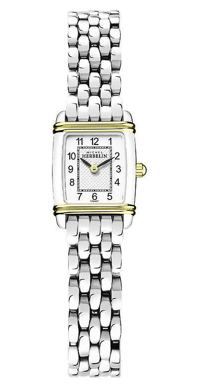 Michel Herbelin Art Déco   Women's Stainless Steel Bracelet   White Dial 17438/T22B