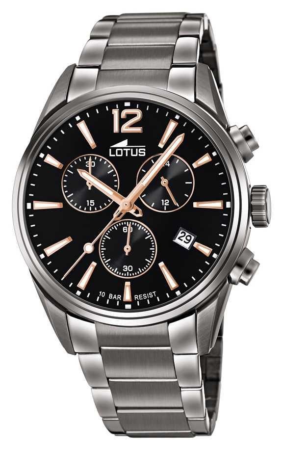 Lotus Men's Stainless Steel Bracelet   Black Chronograph Dial L18682/2