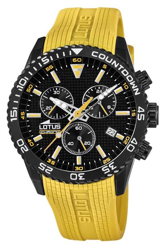Lotus Men's Yellow Silicone Strap | Black Chronograph Dial L18672/4