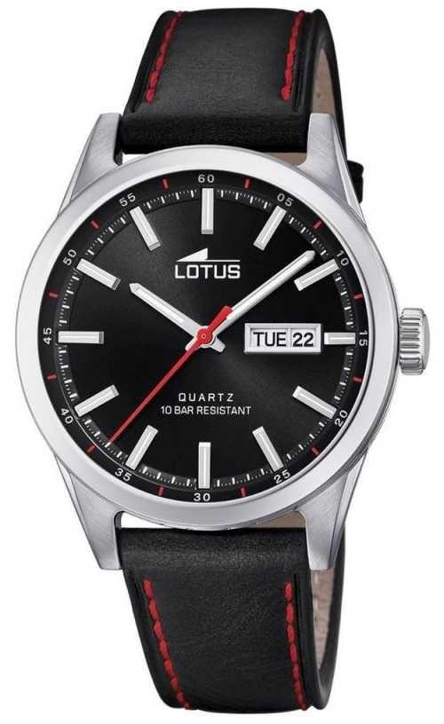 Lotus Men's Black Leather Strap   Red Stitching   Black Dial L18671/4